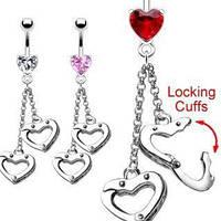Пирсинг пупка PiercedFish NSR8616-C, с наручниками в форме сердечек