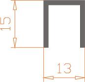 Алюминиевый П-образный профиль (Швеллер) 13*15*1,5 / AS
