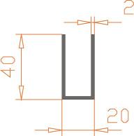 Алюминиевый П-образный профиль (Швеллер) 20*40*2 / AS