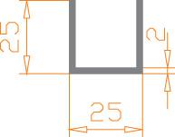 Алюминиевый П-образный профиль (Швеллер) 25*25*2 / AS