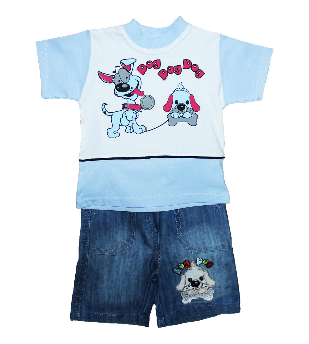 Костюм детский летний мальчуковый, джинсовые шорты + футболка. Джек