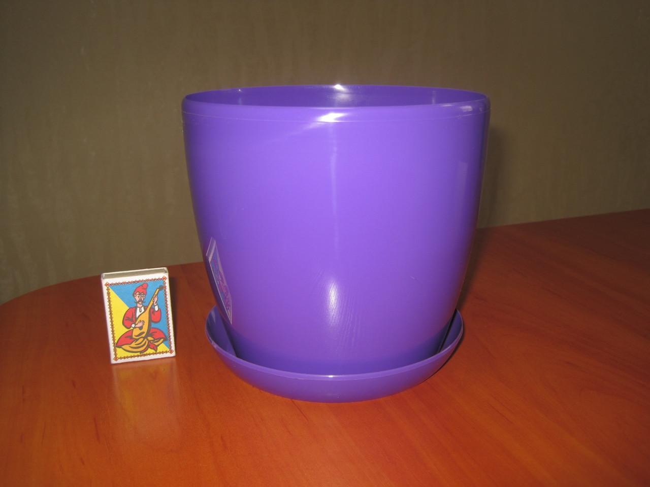 """Вазон цветочный """"Матильда"""" с подставкой V=2,2л (d=16см h=14,5см) фиолетовый """"Омела"""""""