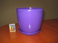 """Вазон цветочный """"Матильда"""" с подставкой V=2,2л (d=16см h=14,5см) фиолетовый """"Омела"""", фото 1"""