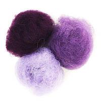 Набор шерсти для валяния кардочесанной Фиолетовые оттенки 3 цв.*10 г Rosa Talent 1203370