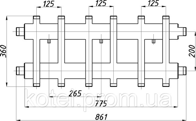 Схема и размер коллектора СК 372.125