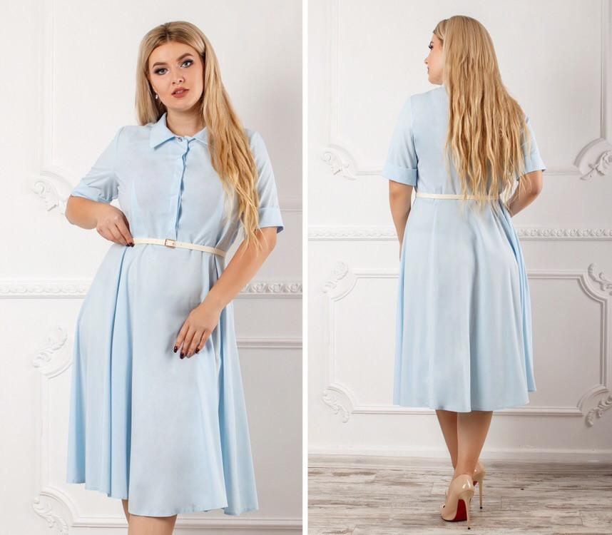 Платье  больших размеров 48+ с рубашечным воротником / 5 цветов арт 8365-613