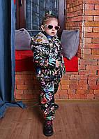 Демисезонный детский комбинезон для девочки с курткой цветочный принт  Новинка 2019! ba7810be5e55b