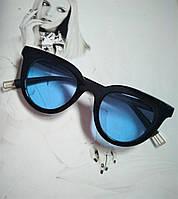 Очки солнцезащитные кошачий глаз черный с голубым