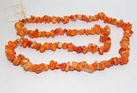 Бусы  крошка оранжевый коралл