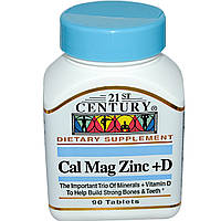 Кальций магний цинк (Calcium Magnesium Zinc) с витамином Д3, 21st Century Health Care, 90 таблеток