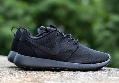 Женские летние кроссовки Nike Roshe Run черные