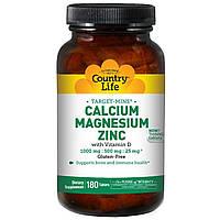 Кальций магний цинк (Calcium Magnesium Zinc) с витамином Д3, Country Life, 180 таблеток
