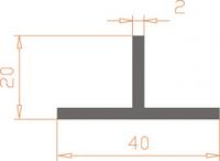 Алюминиевый тавр 40*20*2 / AS