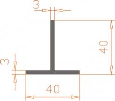 Алюминиевый тавр 40*40*3 / AS