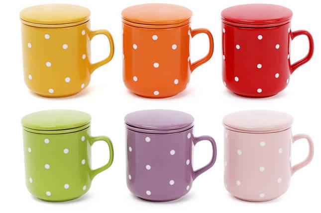"""Чашка заварочная 290мл """"Горошек"""" яркие с керам. ситом и крышкой, фото 2"""