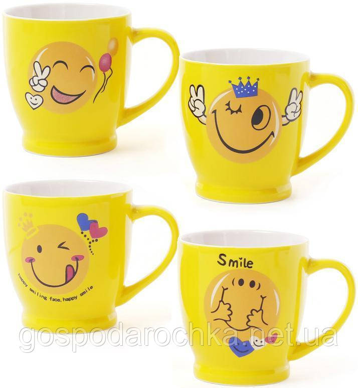 """Чашка 230мл """"Смайлик"""" кофейная желтая"""