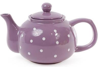 Чайник 1л керамический фиолетовый в белый горошек