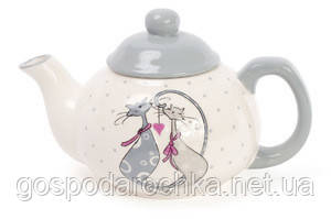 Чайник керамический BonaDi 790мл с объемным рисунком Влюбленные коты DM488-L