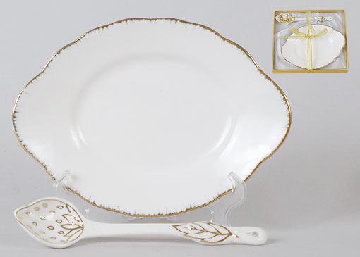 Тарелочка с ложкой фарфоровая овальная 15см