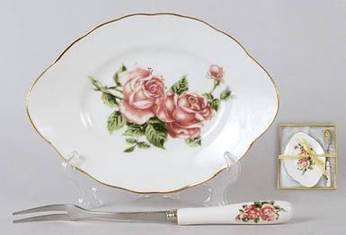 "Тарелочка с вилочкой ""Корейская роза""3"