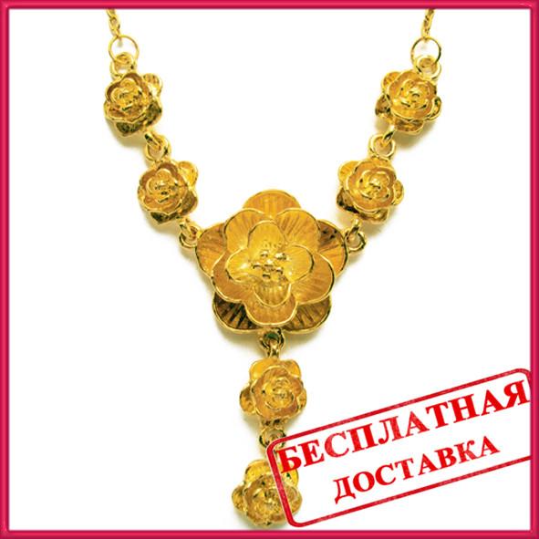 Кольє Троянди під Золото, Метал, Довжина 48 см + 5 см, Безкоштовна Доставка