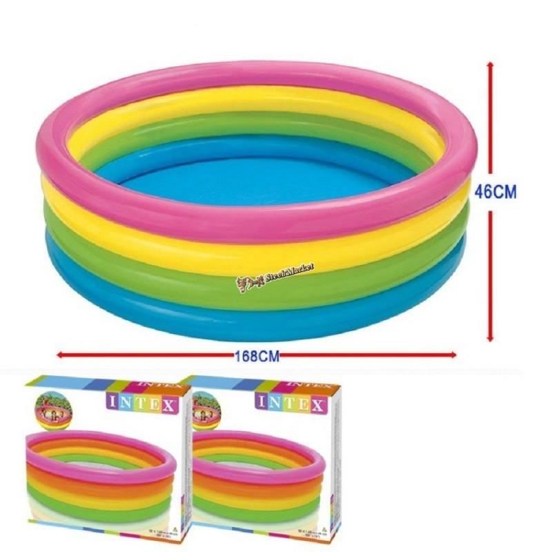Детский надувной бассейн Intex 56441 радуга 168х48