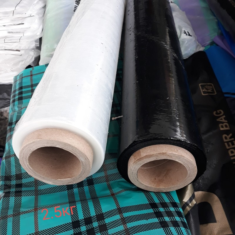 Стрейч-пленка (черная,прозрачная 17 мкм х 500 мм, рулон вес 2,5 кг Украина)