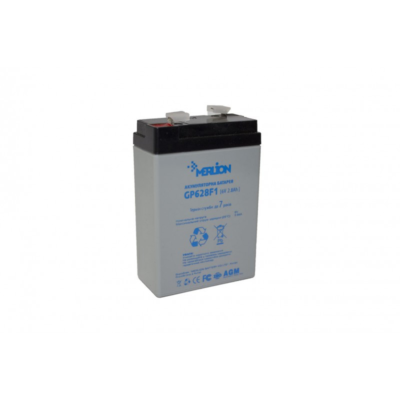 Аккумуляторная батарея 6V 2,8Ah MERLION ( 67 x 35 x 100 (105) ) Q20