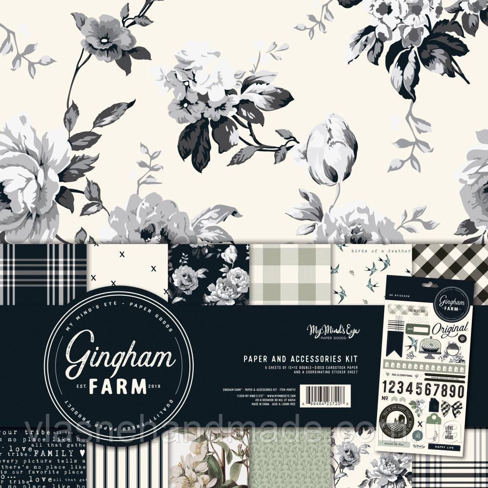 Набір двостороннього паперу - Gingham Farm - MME - 30х30