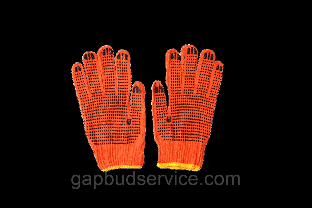 Перчатки Оранжевые с ПВХ точками (12 пар)