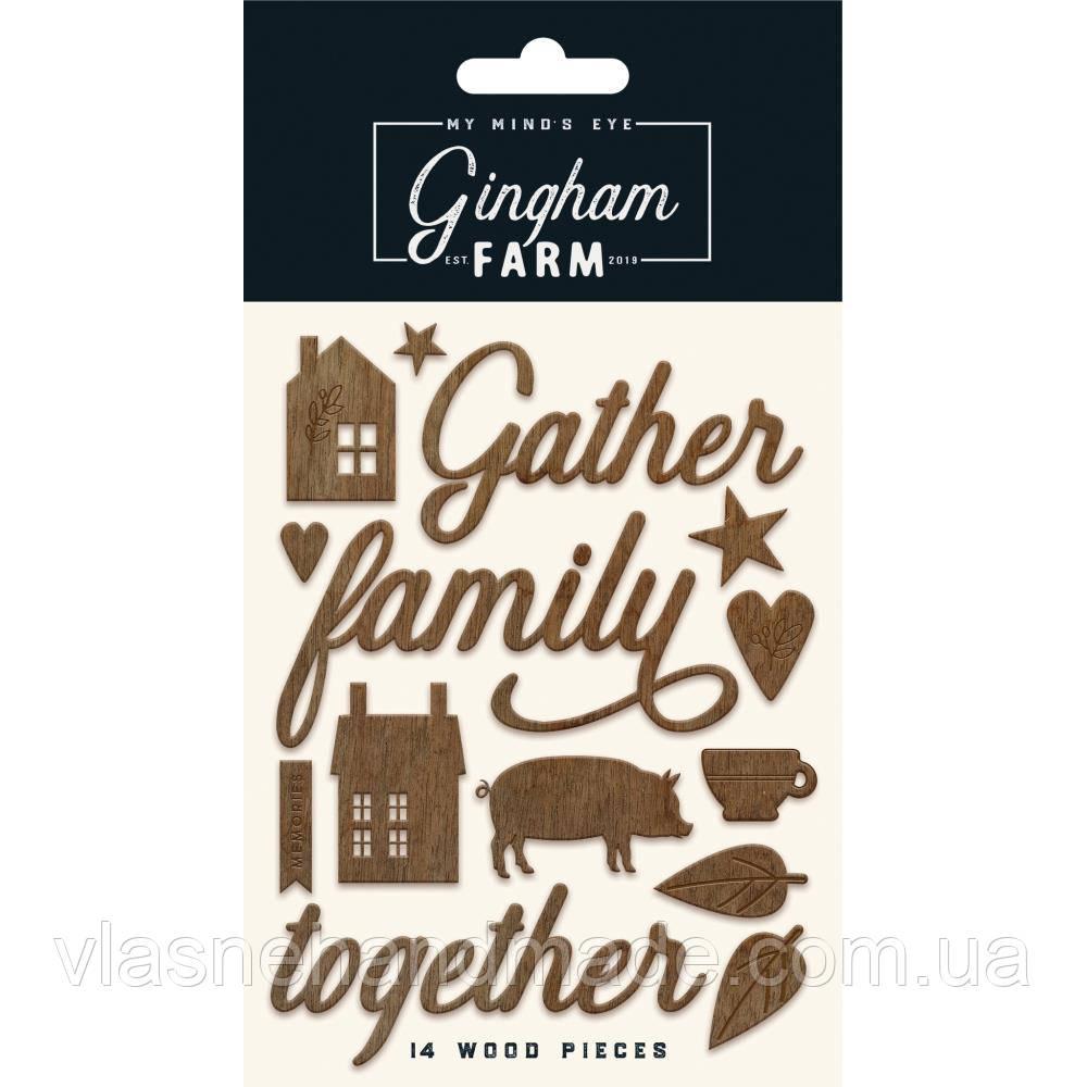 Наклейки дерев'яні - Gingham Farm - MME