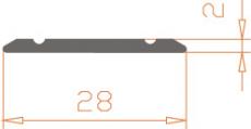 Алюминиевый порог 28*2 / AS