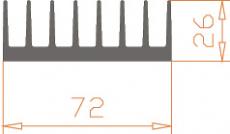 Алюминиевый радиатор 72*26  / БП