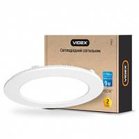 LED светильник 9W встраиваемый круглый VIDEX 5000K 220V потолочный