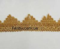 "Золотая тесьма ""треугольник без пайеток""металлизированная, ширина 3.7см(цена за 1м), фото 1"