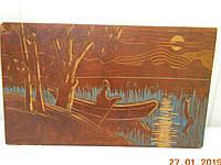 """Картина плакет настенный """"В лодке"""" 1968 г. Закарпатье"""