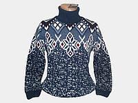 Мужской шерстяной тёплый свитер с орнаментом Dolfin, Турция с воротником гольф, фото 1