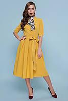 Пышное платье миди горчичного цвета, фото 1