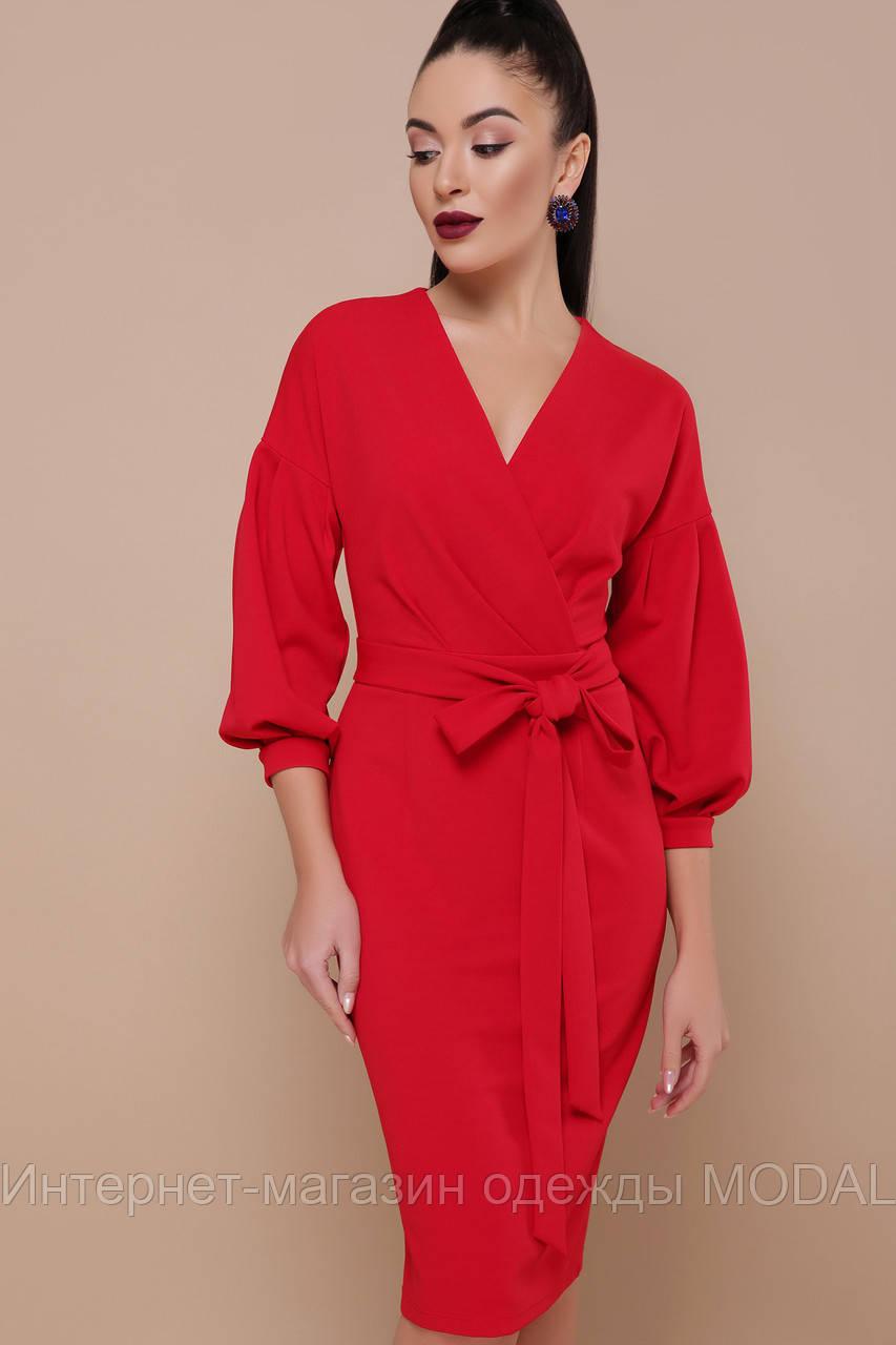 579124e54f7eee5 Красивое красное платье миди на запах - Интернет-магазин одежды MODAL в  Киеве