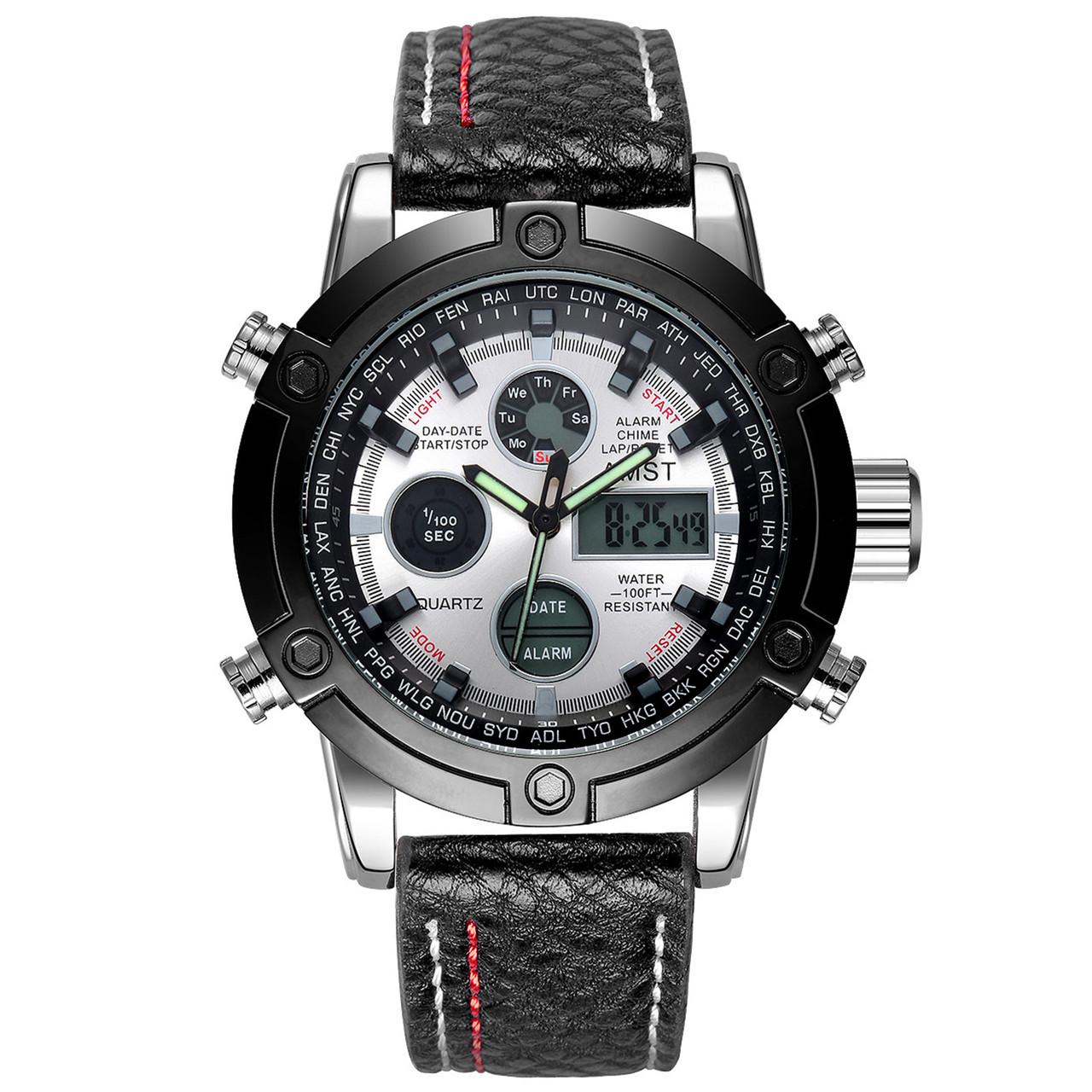 Мужские наручные часы AMST 3022 Fluted Wristband Silver-Black-Silver 1
