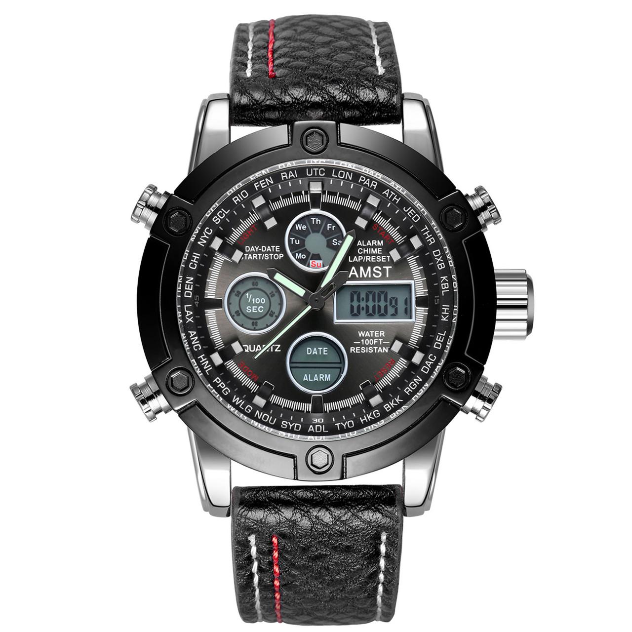 Мужские наручные часы AMST 3022 Fluted Wristband Silver-Black 2