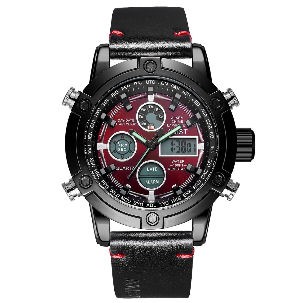 Мужские наручные часы AMST 3022 Smooth Wristband Black-Red 4