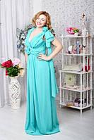 Платье БАТАЛ Роза на плече мята