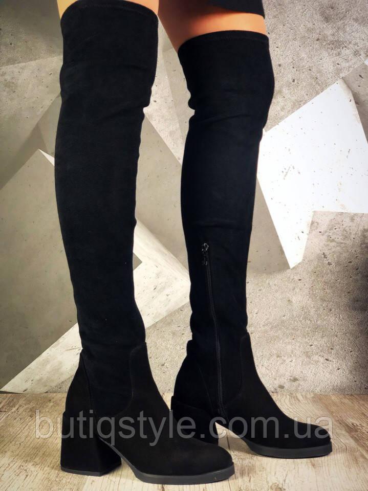 Черные женские ботфорты Luxury style ДЕми натуральный замш+ стрейч экозамш