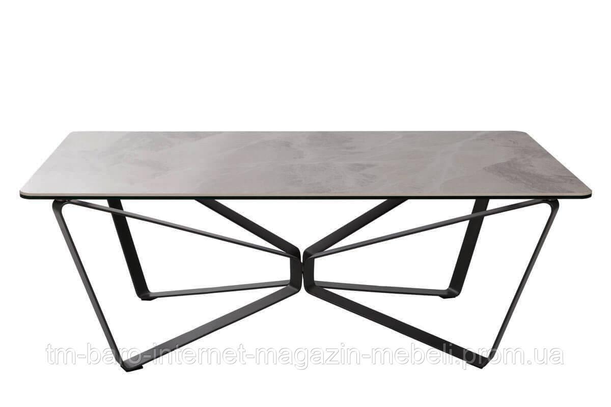 Стол журнальный Luton R (Лутон) 125х70, керамика светло-серый глянец (Бесплатная доставка), Nicolas