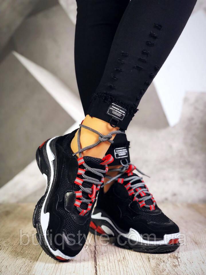 Кроссовки женскиев стиле B@lenciaga черные натуральная кожа и замша + обувной текстиль(сетка)