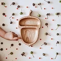 Деревянная тарелка-желудь из дуба для орехов и сухофруктов 200*130*23мм от производителя