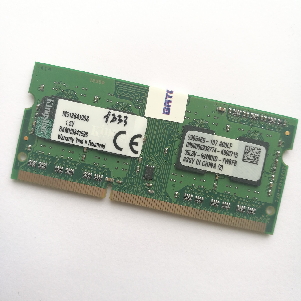 Оперативная память для ноутбука Kingston SODIMM DDR3 4Gb 1333MHz 10600s CL9 (M51264J90S) Б/У