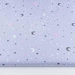 """Лоскут ткани """"Ноченька"""" с розовой луной на сером фоне, № 1174, размер 22*80 см, фото 2"""