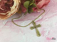 Золотой крестик украшенный камнями подвеска 19713 на шею женская бижутерия
